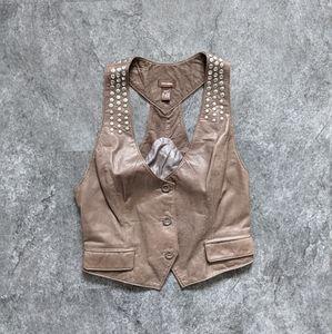 Danier genuine leather Brown studded button up racerback vest